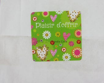 """20 labels stickers """"pleasure of offering"""" - heart decoration # T16B"""