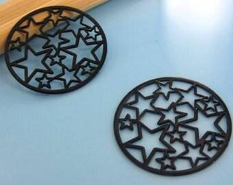 Star Black filigree connector 20mm diam., 2 x prints # S4