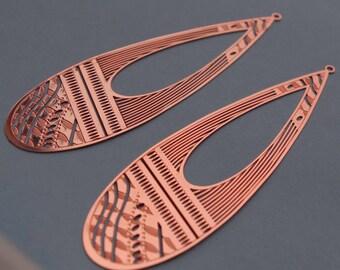 2 filigree drop prints - stylized copper Rose-Sun: 75x25mm # 213