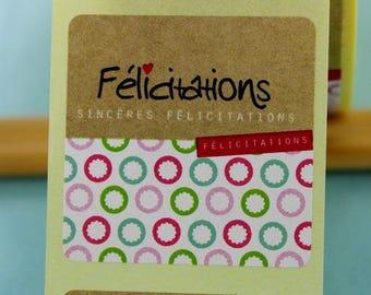 """20 labels stickers """"Congratulations"""" for birth, marriage,... # U21E"""