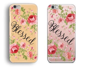 Floral Blessed Phone Case, iPhone 5S, iPhone 6S Case, iPhone 7 Case, iPhone 8 Plus Case, iPhone X Case, Samsung Galaxy S8 Case, Galaxy S7