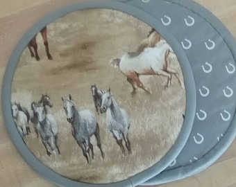 Horse Potholders, Hot Pads, Mats, 8 inch, Round