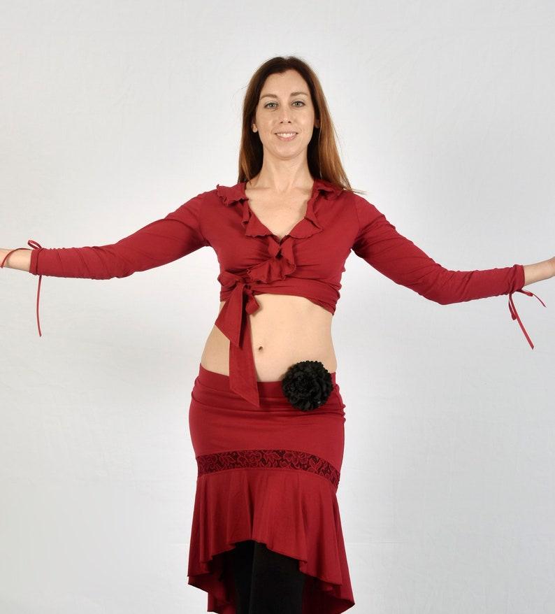 Ruffle Wrap Tie Top-Tribal Fusion Latin Salsa Tango Belly Dance Ballet Dancewear Cosplay Comic Con Pin Up SteamPunk Gothic