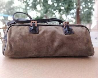 0706b41795d7 Authentic Fendi Top Handle Baguette Suede Handbag   Fendi Bag