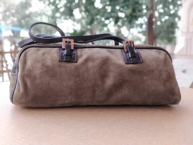 0756e3d452 Authentic Fendi Top Handle Baguette Suede Handbag   Fendi Bag