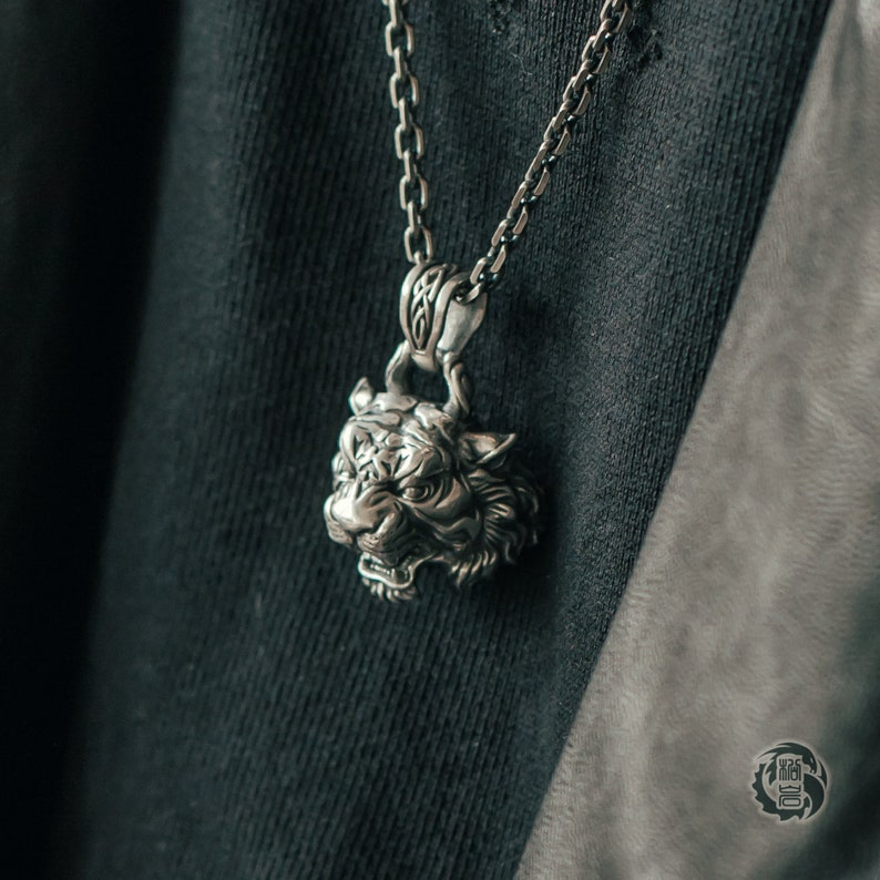 Sterling Silver 925 Silver Tiger Head Pendant ONLY without chain Aged Finish Oxidized Silver Songyan Jewelry