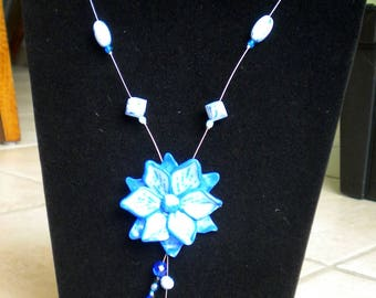 long blue flower in Fimo on wire cable silver necklace