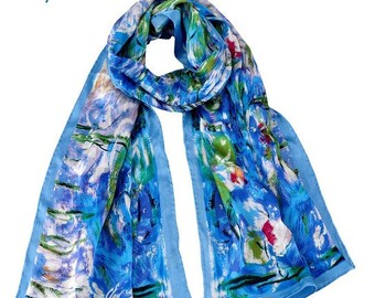 100% luxurious soft silk. Claude Monet's Waterlilies. Gift wrapping  available