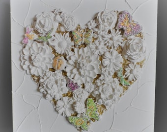 Ornamental heart and flower  plaque