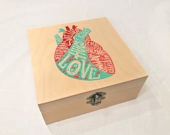 Words of Love in Heart Wooden Box