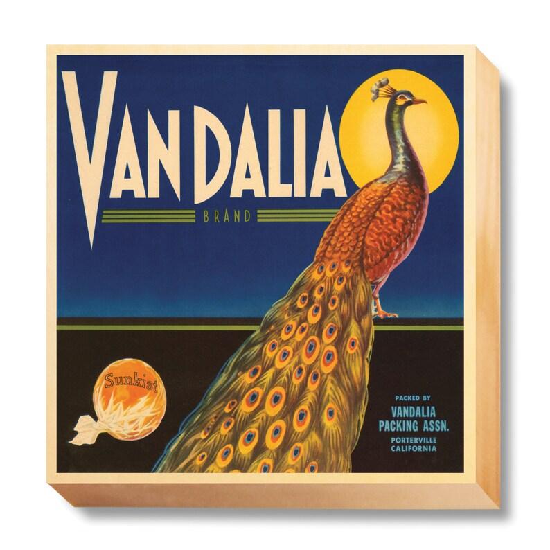Vintage Crate Art Vandalia Brand Oranges art print / wooden image 0