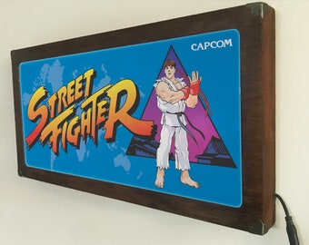 Street Fighter Arcade marquee style sign Back Lit / Light Signs /Light up Signs / Vintage looking Sign / Bar Sign LED Sign / by GBDW