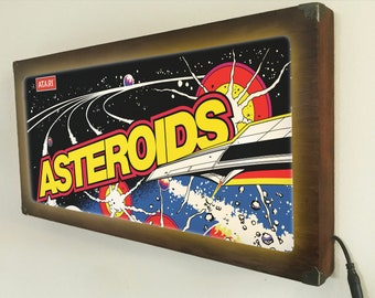 Asteroids Arcade marquee style sign Back Lit / Light Signs /Light up Signs / Vintage looking Sign / Bar Sign LED Sign / by GBDW
