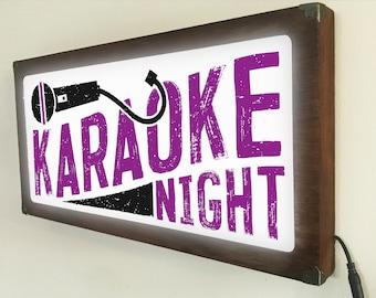 Karaoke Night Back Lit / Light Signs /Light up Signs / Vintage looking Sign / Bar Recording Studio Sign LED Sign / by GBDW