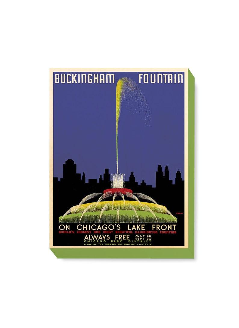 Vintage Travel Poster Buckingham Fountain Chicago Art Print on image 0