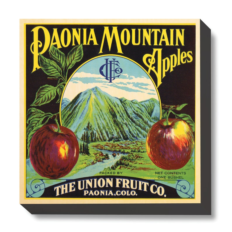 Vintage Crate Art Paonia Mountain Apples art print / wooden image 0