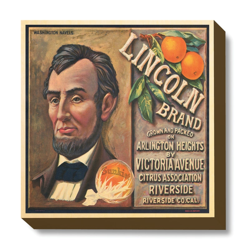 Vintage Crate Art Lincoln Brand Oranges art print / wooden image 0