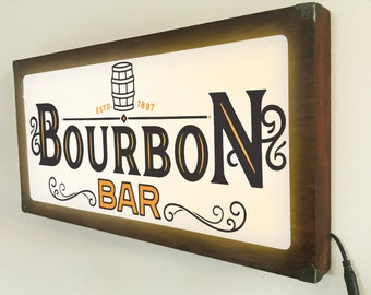 Bourbon Bar Back Lit / Light Signs /Light up Signs / Vintage looking Sign / Bar Sign LED Sign / by Grumpy Bulldog Design Works