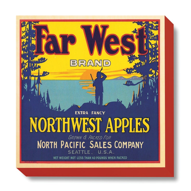 Vintage Crate Far West Brand Apples art print / wooden canvas image 0