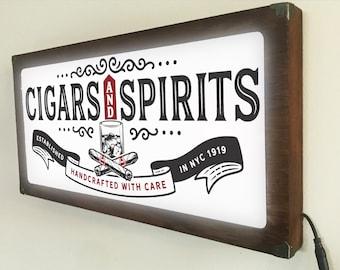 Cigars and Spirits Back Lit / Light Signs /Light up Signs / Vintage looking Sign / Bar Sign LED Sign / by Grumpy Bulldog Design Works