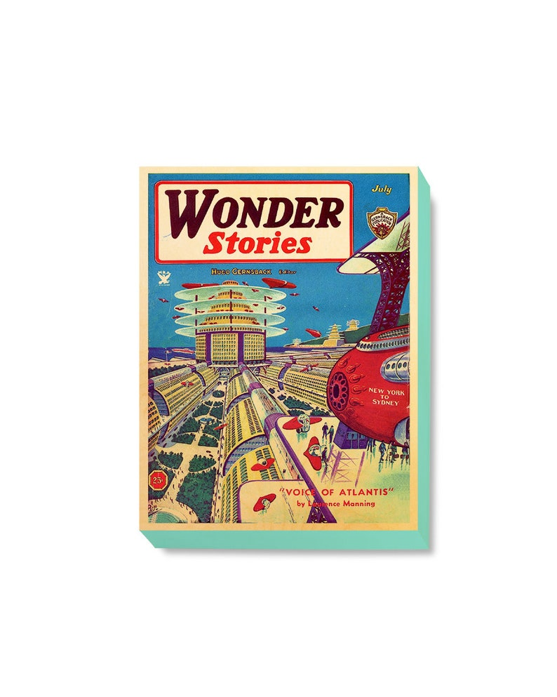 Vintage Comic Book Cover Art Print - Wonder Stories- Voice of Atlantis art  print / wooden canvas art / wood wall art by GBDW