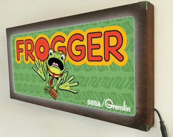 Frogger Arcade marquee style sign Back Lit / Light Signs /Light up Signs / Vintage looking Sign / Bar Sign LED Sign / by GBDW