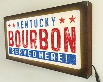 Kentucky Bourbon Bar Back Lit / Light Signs /Light up Signs / Vintage looking Sign / Bar Sign LED Sign / by Grumpy Bulldog Design Works