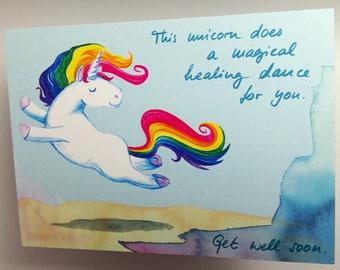 Get well soon – unicorn postcard