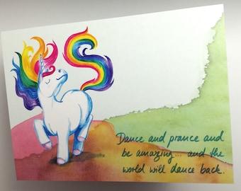 Dance – unicorn postcard / greeting card