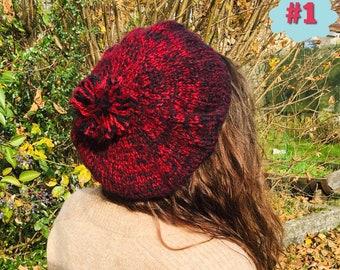 Béret, bérets, bonnet, bonnet en laine, chapeau, chapeau d hiver, beret en  laine , beret avec pompon, bonnet avec pompon cb1f76b733a