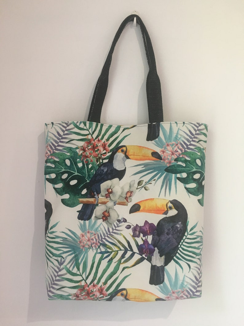 vegan bag tote bag tropical toucan velvet ras and crocodile imitation leather blue Tote bag purse