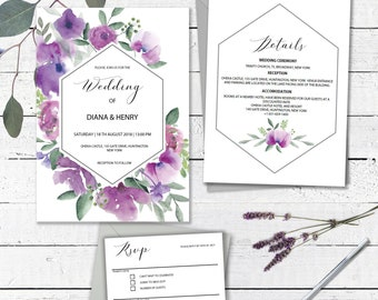purple wedding invitation template instant download printable etsy