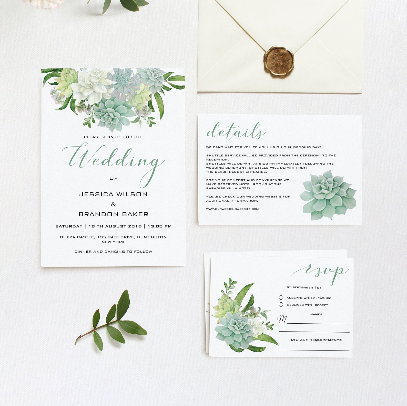 Hochzeitseinladung Sukkulenten