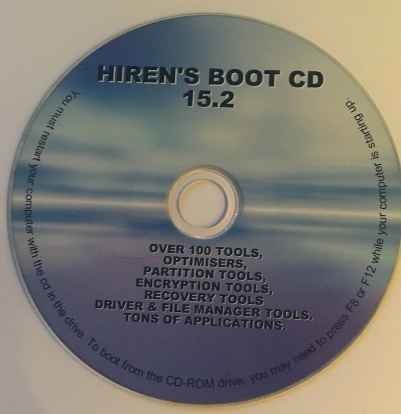 Hiren's Boot CD Restore Repair Diagnose pc works on any pc Windows 7,  Vista, XP