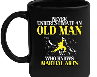Old man who loves Martial Arts Gift, Papa Gift, Grandpa Gift, Mug for Gramps Mug Papa Present, Dog Lover, Christmas gift, Father's day