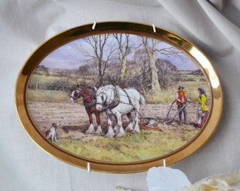 Golden year decorative plate spring vintage certify horse decor horse plate