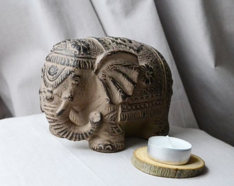 Elephant figurine indie ceramic elephant vintage ornament indie elephant for luck elephant decor lucky elephant statue elephant gift