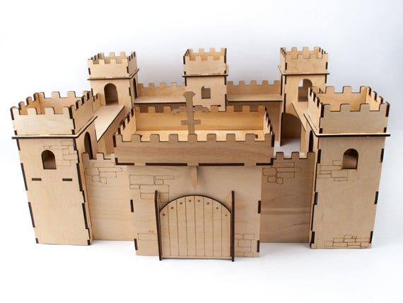 Wooden Castle For Children Wooden Puzzle Castle Wooden Castle Wooden Toy Knights Castle Wooden Fortress Montessori Castle Dollhouse