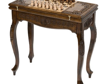 Armenian Handmade Backgammon+Chess Table   Board Game Table Hand Carved  From Natural Walnut Wood, Gift For Him