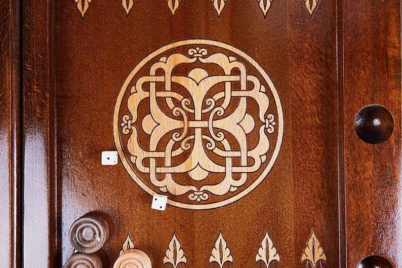 Gift for him Nardy Set Board Game Hand carved from Natural Walnut Wood READY TO SHIP Armenian Handmade Backgammon Armenian pattern
