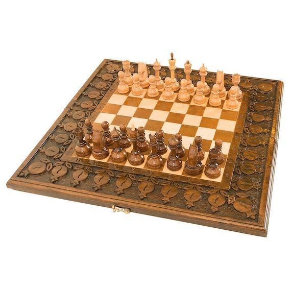 BOARD SET GAME ORNAMENT  Armenian Wood Nardy chess carved HANDMADE BACKGAMMON
