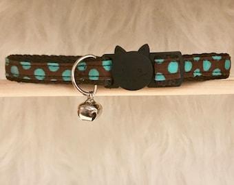 "Brown Polka Dot Cat Collar- ""Chocodot""- Breakaway Cat Collar / Kitten Collar"