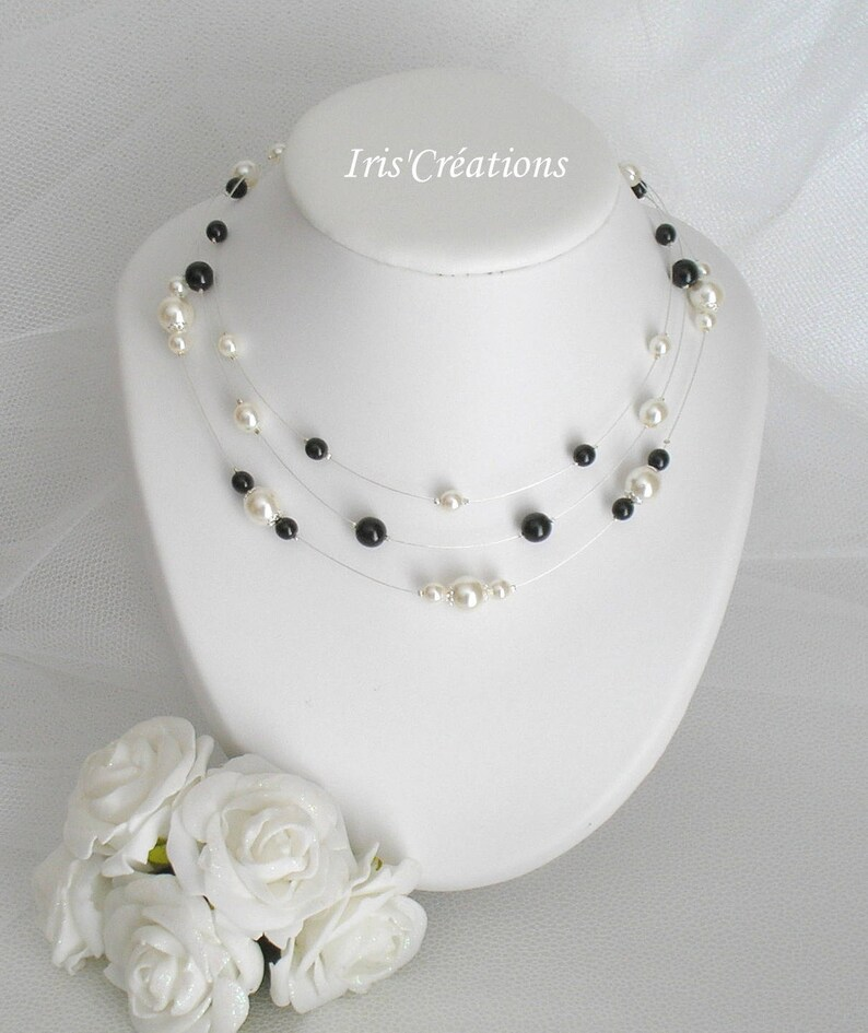 Noumea ivory pearls and black wedding necklace