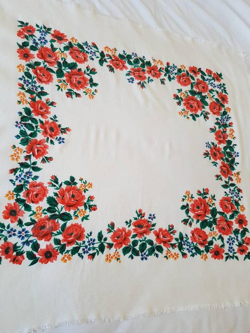 Vintage shawl Russian shawl Staple floral scarf Vintage shawl Women shawl  Wedding shawl made in USSR SALE