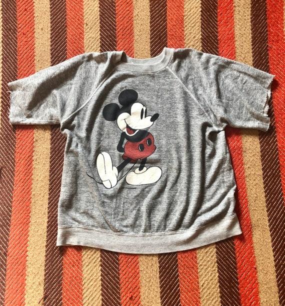 1980's Vintage Mickey Mouse Burnout Sweatshirt T S