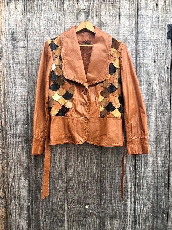 1970's Vintage Patchwork Scalloped Leather Jacket