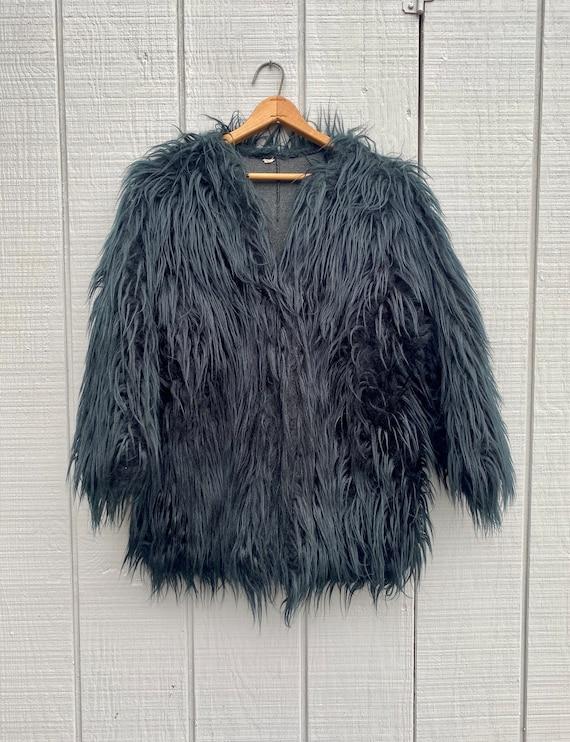 Vintage Black Shag Woman Jacket