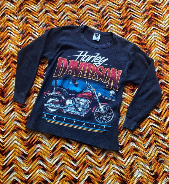 1987 Vintage Harley Davidson Softail Thermal T Shi