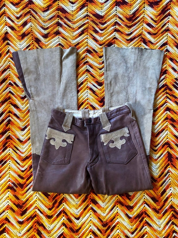 1960's Vintage 2 Toned Leather Glam Rock Pants