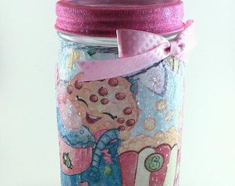 Shopkins Decor, Fairy Jars, Mason Jar Lanterns, Mason Jar Decor, Mason Jars, Christmas Gift for girls, Decoupage, Hand Painted, Upcycle